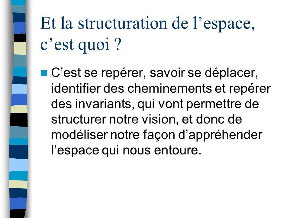 Et la structuration de lespace, cest quoi ? Cest se repérer, savoir se déplacer, identifier des cheminements et repérer des invariants, qui vont perme