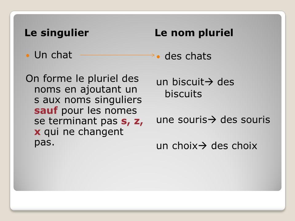 Le singulierLe nom pluriel Un chat On forme le pluriel des noms en ajoutant un s aux noms singuliers sauf pour les nomes se terminant pas s, z, x qui