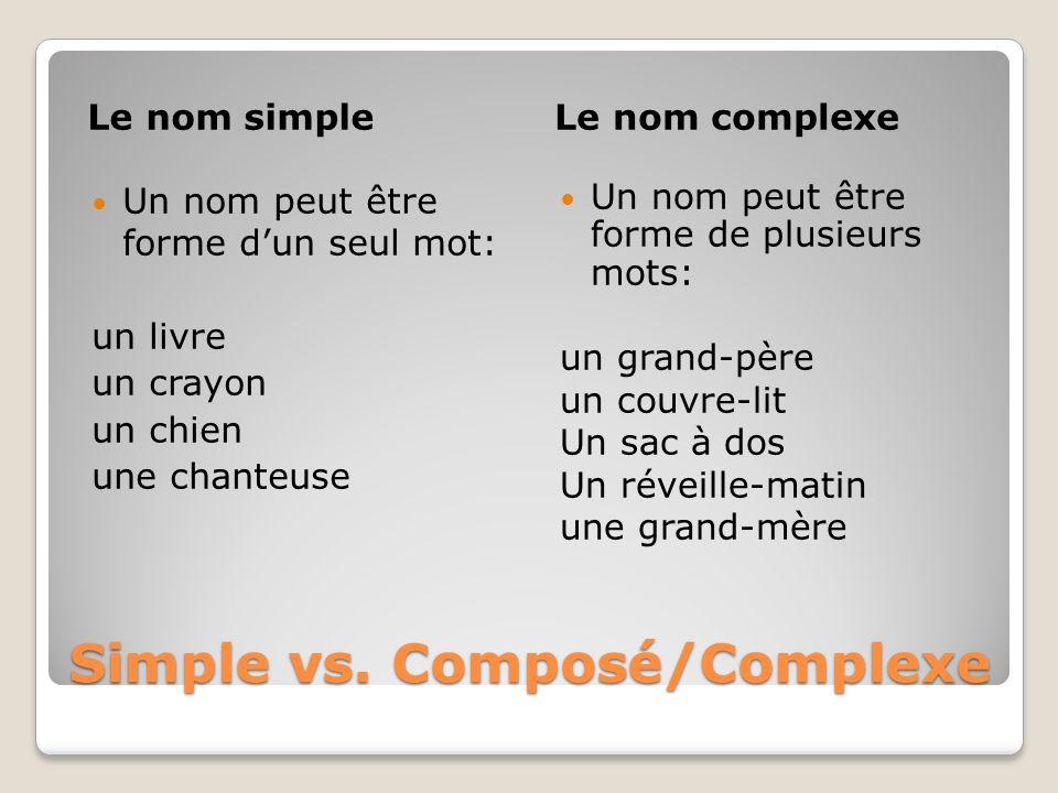 Simple vs. Composé/Complexe Le nom simpleLe nom complexe Un nom peut être forme dun seul mot: un livre un crayon un chien une chanteuse Un nom peut êt
