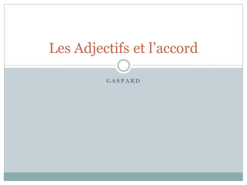 GASPARD Les Adjectifs et laccord