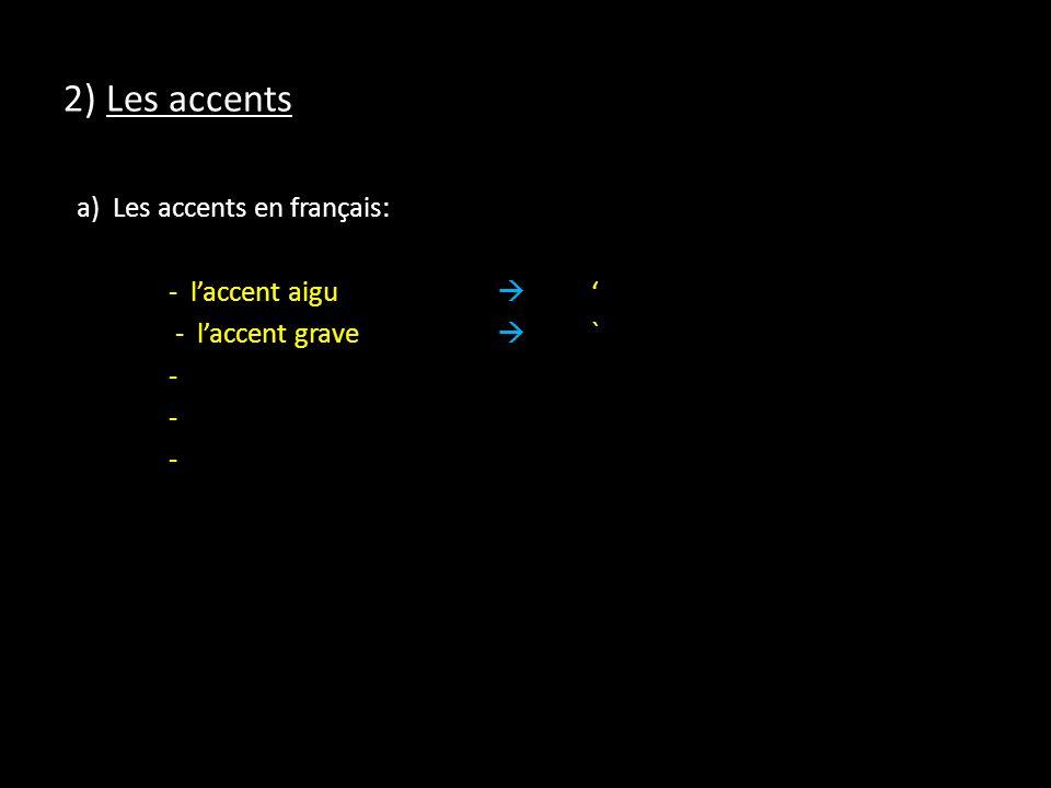 2) Les accents a) Les accents en français: - laccent aigu - laccent grave ` -