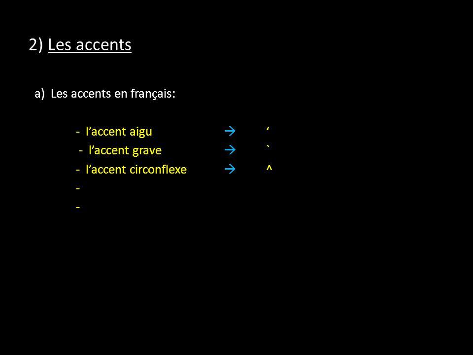 2) Les accents a) Les accents en français: - laccent aigu - laccent grave ` - laccent circonflexe ^ -