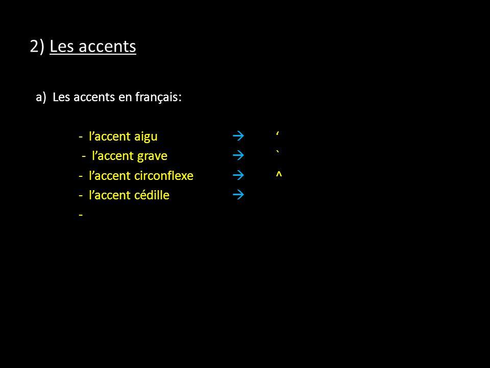 2) Les accents a) Les accents en français: - laccent aigu - laccent grave ` - laccent circonflexe ^ - laccent cédille -