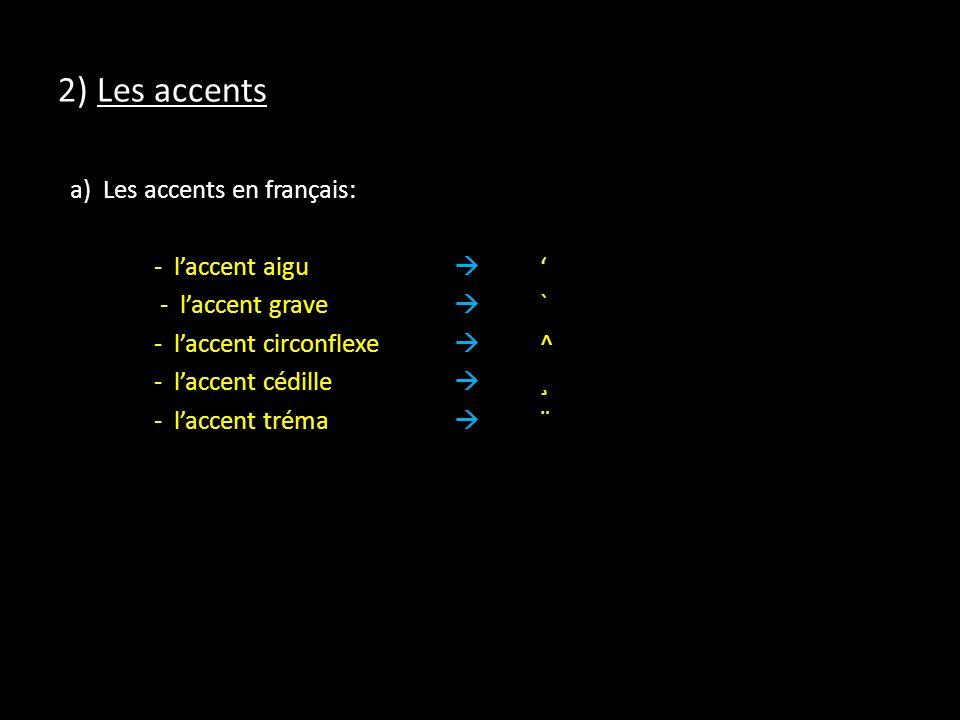 2) Les accents a) Les accents en français: - laccent aigu - laccent grave ` - laccent circonflexe ^ - laccent cédille ¸ - laccent tréma ¨