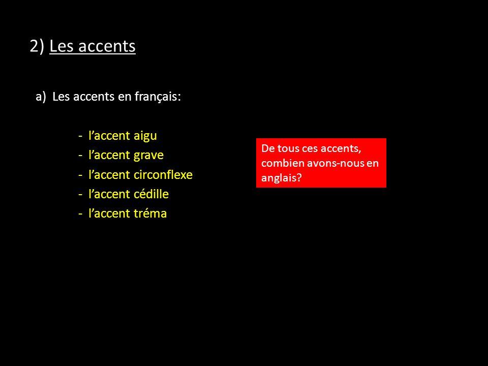 2) Les accents a) Les accents en français: - laccent aigu - laccent grave - laccent circonflexe - laccent cédille - laccent tréma De tous ces accents, combien avons-nous en anglais?