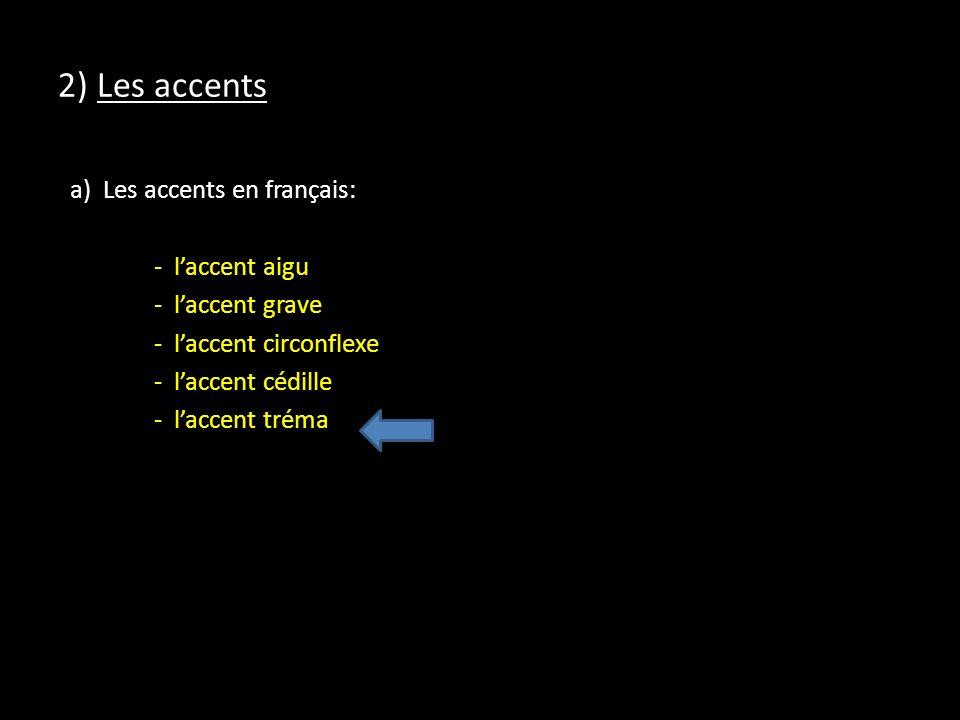 2) Les accents a) Les accents en français: - laccent aigu - laccent grave - laccent circonflexe - laccent cédille - laccent tréma