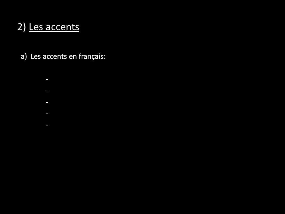 2) Les accents a) Les accents en français: -