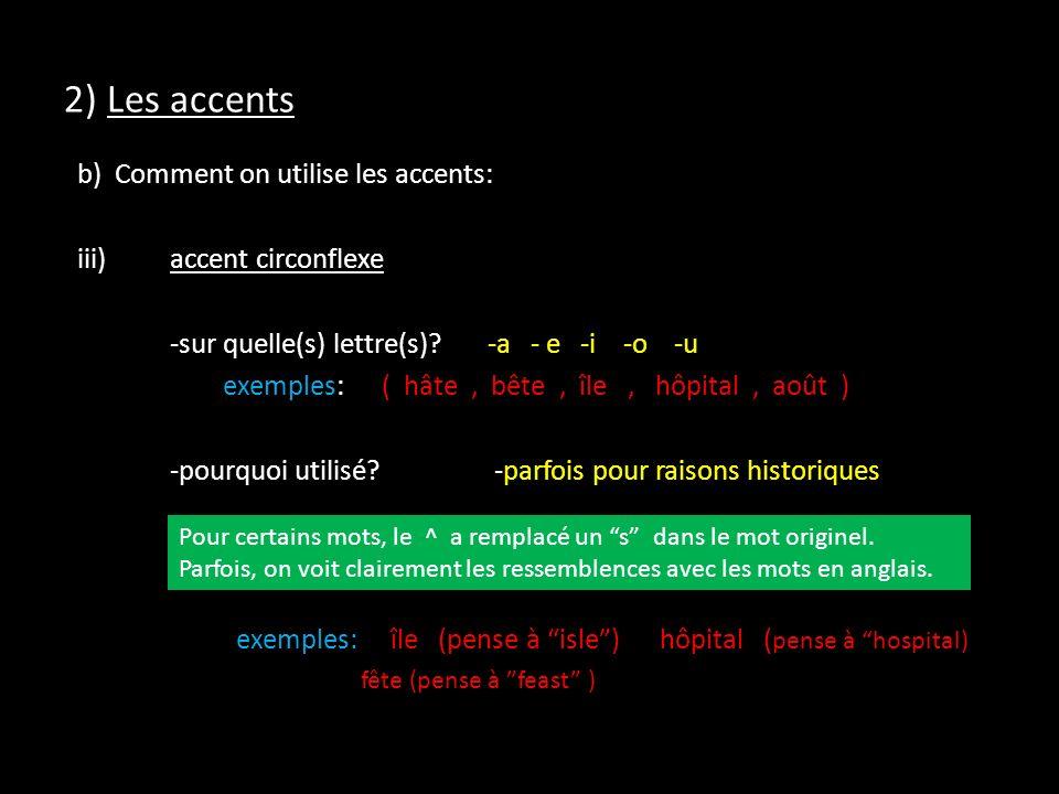 2) Les accents b) Comment on utilise les accents: iii)accent circonflexe -sur quelle(s) lettre(s)?-a - e -i -o -u exemples:( hâte, bête, île, hôpital, août ) -pourquoi utilisé.