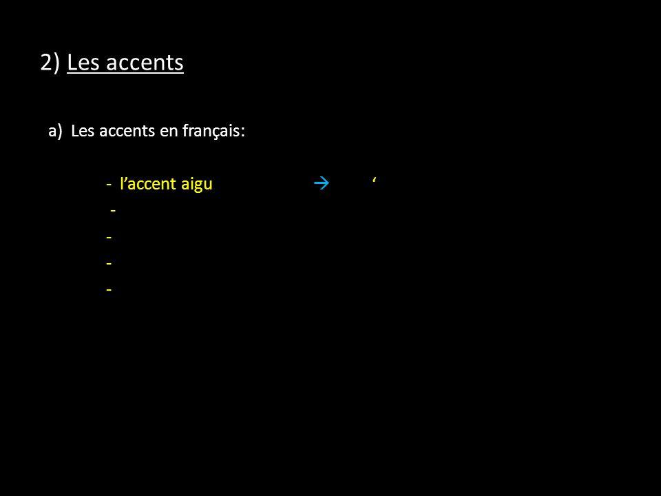 2) Les accents a) Les accents en français: - laccent aigu -