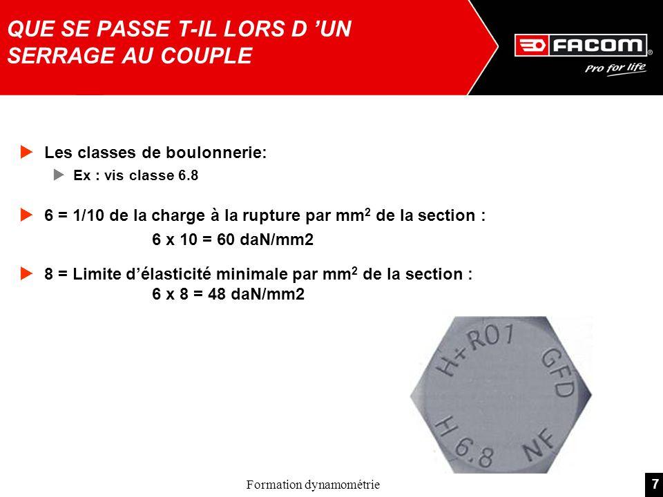 7Formation dynamométrie Les classes de boulonnerie: Ex : vis classe 6.8 6 = 1/10 de la charge à la rupture par mm 2 de la section : 6 x 10 = 60 daN/mm