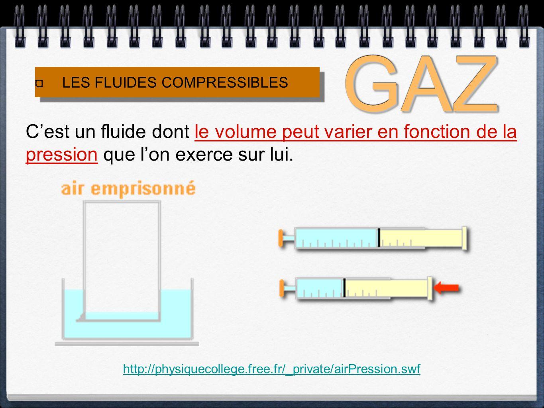 LES FLUIDES INCOMPRESSIBLES LES FLUIDES INCOMPRESSIBLES Cest un fluide dont le volume NE VARIE PRESQUE PAS en fonction de la pression que lon exerce sur lui.