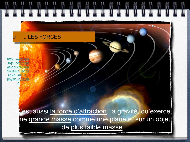 ... LES FORCES Cest aussi la force dattraction, la gravité, quexerce une grande masse comme une planète, sur un objet de plus faible masse. http://www