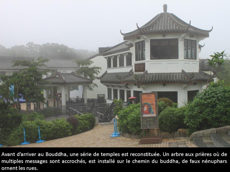 Avant darriver au Bouddha, une série de temples est reconstituée. Un arbre aux prières où de multiples messages sont accrochés, est installé sur le ch