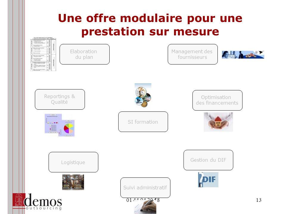 01 44 94 20 5813 Une offre modulaire pour une prestation sur mesure Elaboration du plan Management des fournisseurs Optimisation des financements Suiv