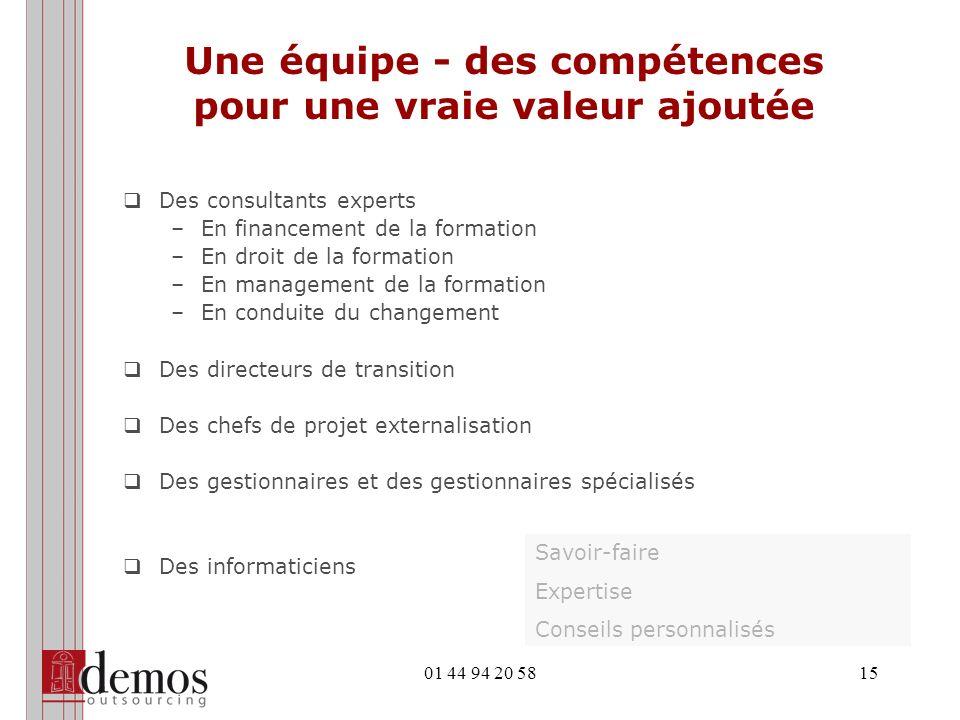 01 44 94 20 5815 Une équipe - des compétences pour une vraie valeur ajoutée Des consultants experts –En financement de la formation –En droit de la fo