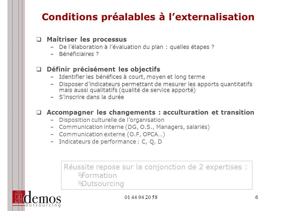 01 44 94 20 586 Conditions préalables à lexternalisation Maîtriser les processus –De lélaboration à lévaluation du plan : quelles étapes ? –Bénéficiai