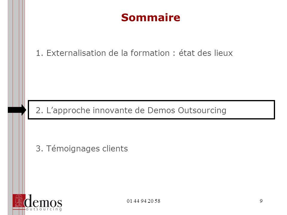 01 44 94 20 589 Sommaire 1.Externalisation de la formation : état des lieux 2.Lapproche innovante de Demos Outsourcing 3.Témoignages clients