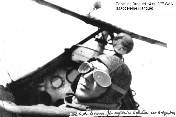 En vol en Breguet 14 du 2 ème GAA (Magdeleine Planque)