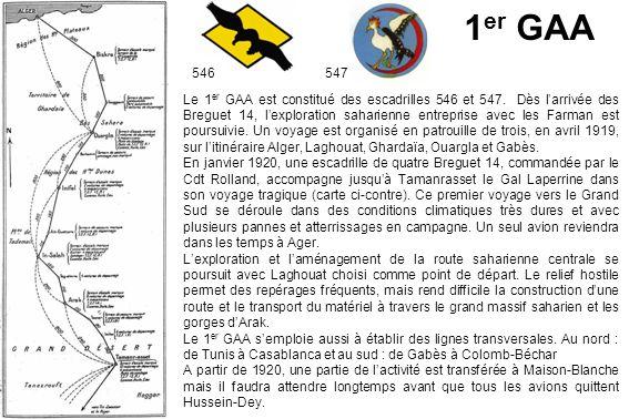 1 er GAA 546547 Le 1 er GAA est constitué des escadrilles 546 et 547. Dès larrivée des Breguet 14, lexploration saharienne entreprise avec les Farman