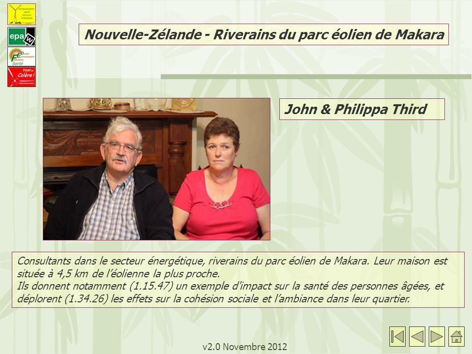 v2.0 Novembre 2012 Nouvelle-Zélande - Riverains du parc éolien de Makara John & Philippa Third Consultants dans le secteur énergétique, riverains du p
