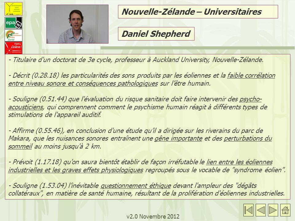 v2.0 Novembre 2012 Daniel Shepherd - Titulaire d un doctorat de 3e cycle, professeur à Auckland University, Nouvelle-Zélande.