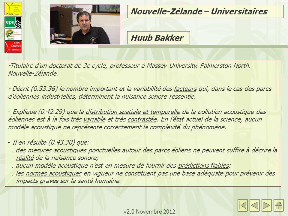 v2.0 Novembre 2012 Huub Bakker -Titulaire d un doctorat de 3e cycle, professeur à Massey University, Palmerston North, Nouvelle-Zélande.