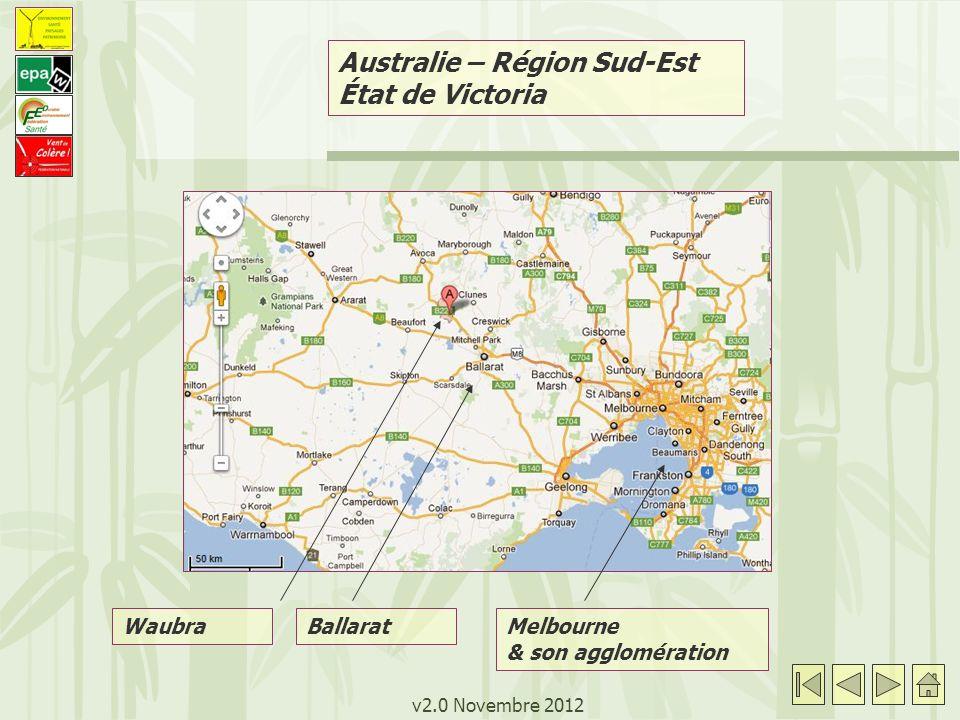 v2.0 Novembre 2012 Australie – Parc éolien de Waubra - Waubra: commune rurale de 500 habitants - Parc éolien mis en chantier en 2007, en service depuis Juillet 2009 - 128 éoliennes, puissance 1,5 MW, hauteur 110 à 120m - 48 éoliennes sont équipées d un flash lumineux - Un des trois plus grands parcs éoliens d Australie