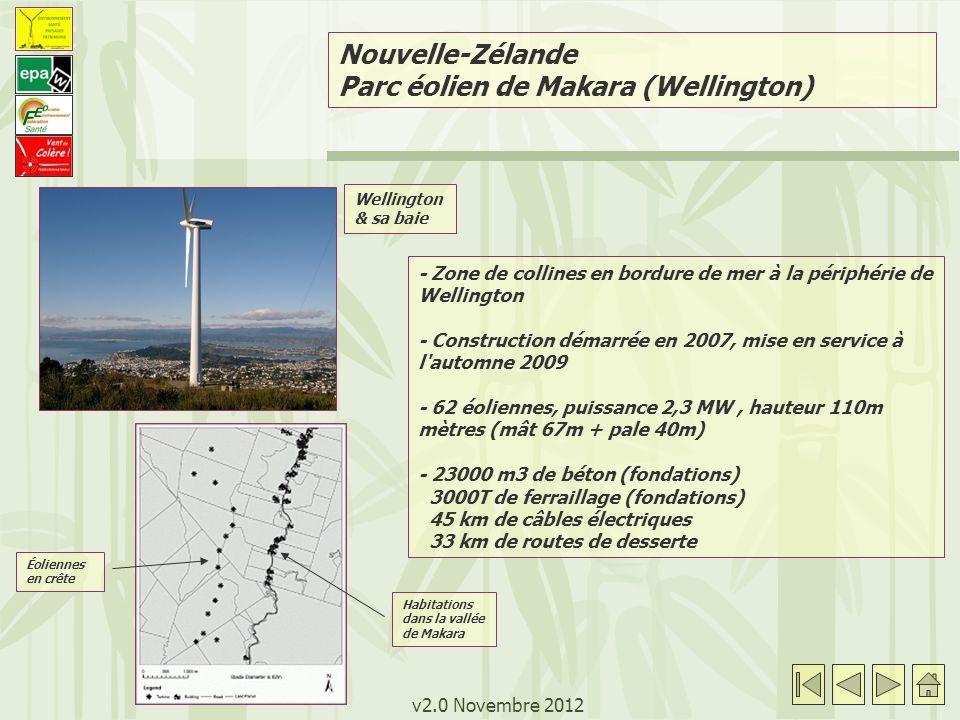 v2.0 Novembre 2012 Nouvelle-Zélande Parc éolien de Makara (Wellington) - Zone de collines en bordure de mer à la périphérie de Wellington - Construction démarrée en 2007, mise en service à l automne 2009 - 62 éoliennes, puissance 2,3 MW, hauteur 110m mètres (mât 67m + pale 40m) - 23000 m3 de béton (fondations) 3000T de ferraillage (fondations) 45 km de câbles électriques 33 km de routes de desserte Wellington & sa baie Éoliennes en crête Habitations dans la vallée de Makara