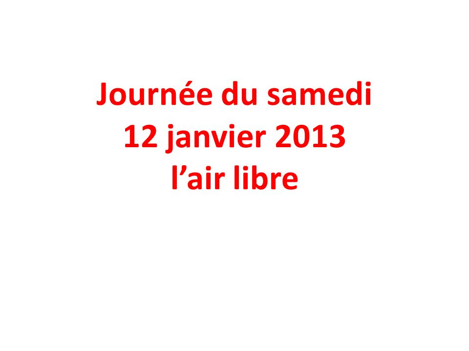 Journée du samedi 12 janvier 2013 lair libre