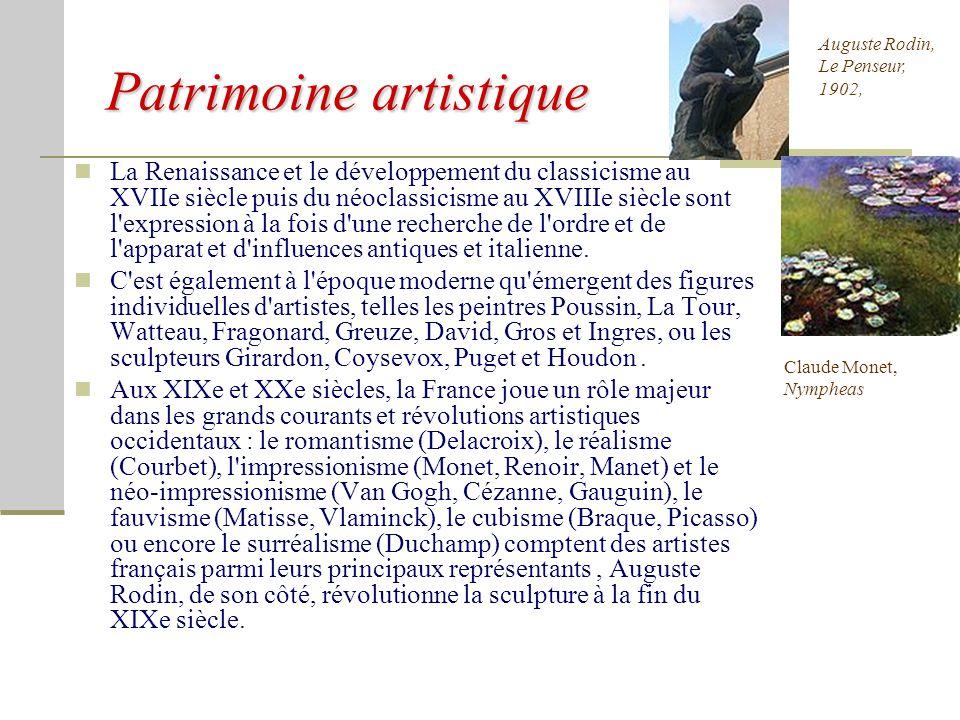 Patrimoine architectural La France possède un riche patrimoine architectural. Sur les 714 biens culturels classés au patrimoine mondial par l'UNESCO a
