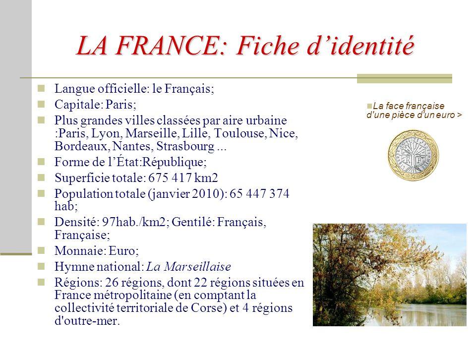 LA FRANCE La France, officiellement la République française, est un pays dont la majeure partie du territoire et de la population est située en Europe