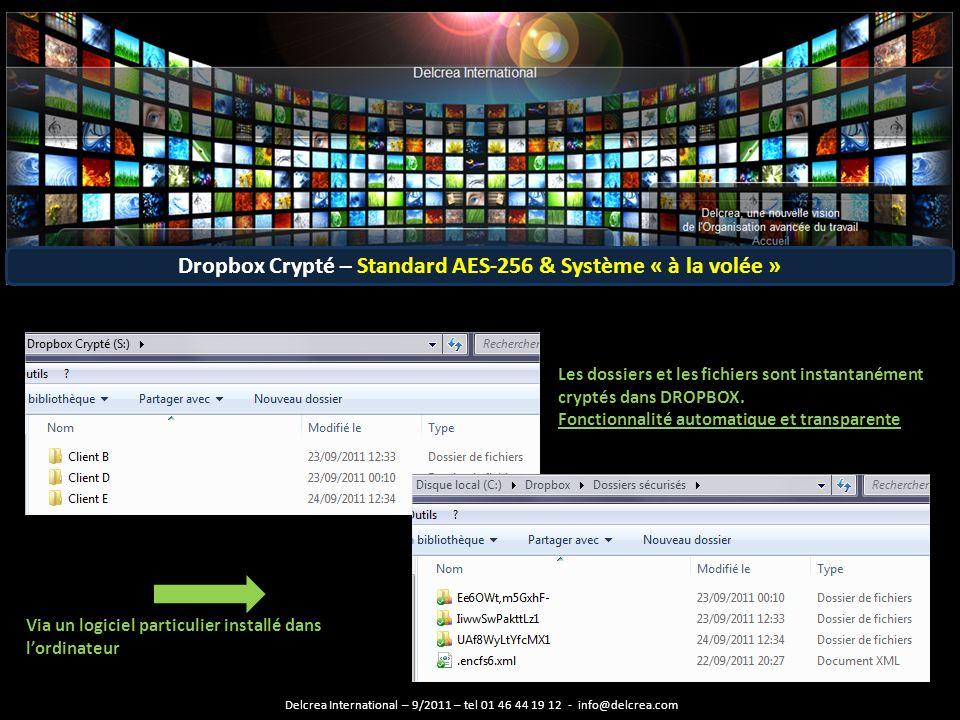 Les dossiers et les fichiers sont instantanément cryptés dans DROPBOX.