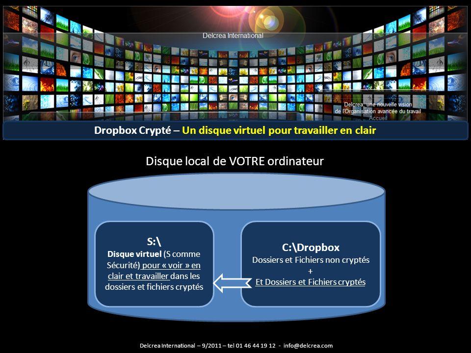 Dropbox Crypté – Un disque virtuel pour travailler en clair C:\Dropbox Dossiers et Fichiers non cryptés + Et Dossiers et Fichiers cryptés S:\ Disque virtuel (S comme Sécurité) pour « voir » en clair et travailler dans les dossiers et fichiers cryptés Disque local de VOTRE ordinateur Delcrea International – 9/2011 – tel 01 46 44 19 12 - info@delcrea.com