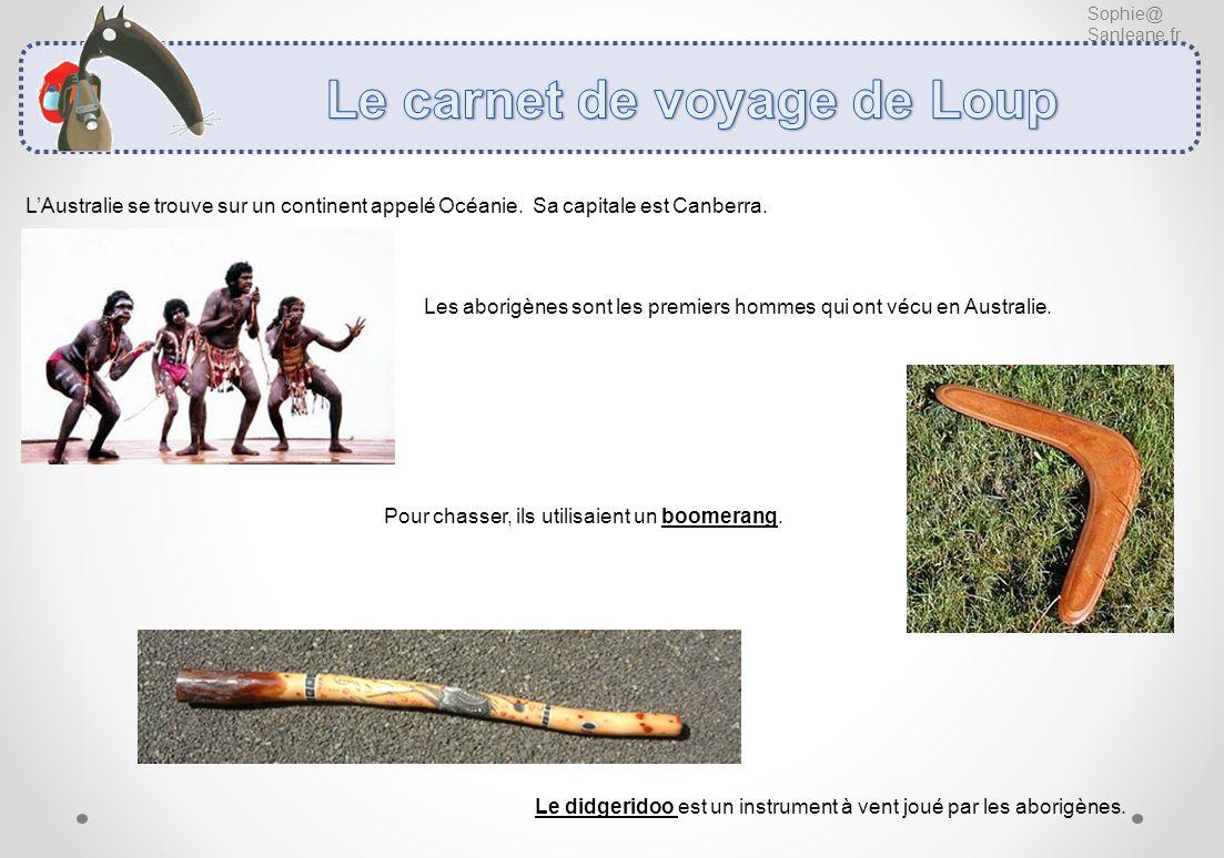 Sophie@ Sanleane.fr LAustralie se trouve sur un continent appelé Océanie. Sa capitale est Canberra. Les aborigènes sont les premiers hommes qui ont vé