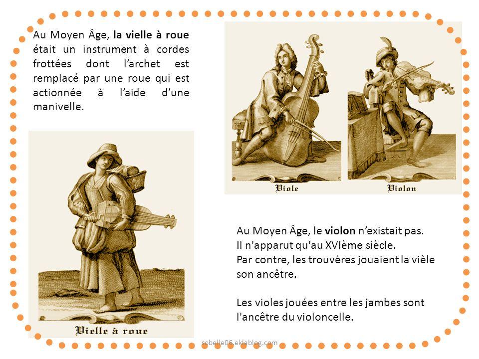 Au Moyen Âge, la vielle à roue était un instrument à cordes frottées dont larchet est remplacé par une roue qui est actionnée à laide dune manivelle.