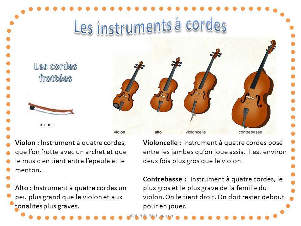 Violon : Instrument à quatre cordes, que lon frotte avec un archet et que le musicien tient entre lépaule et le menton. Alto : Instrument à quatre cor