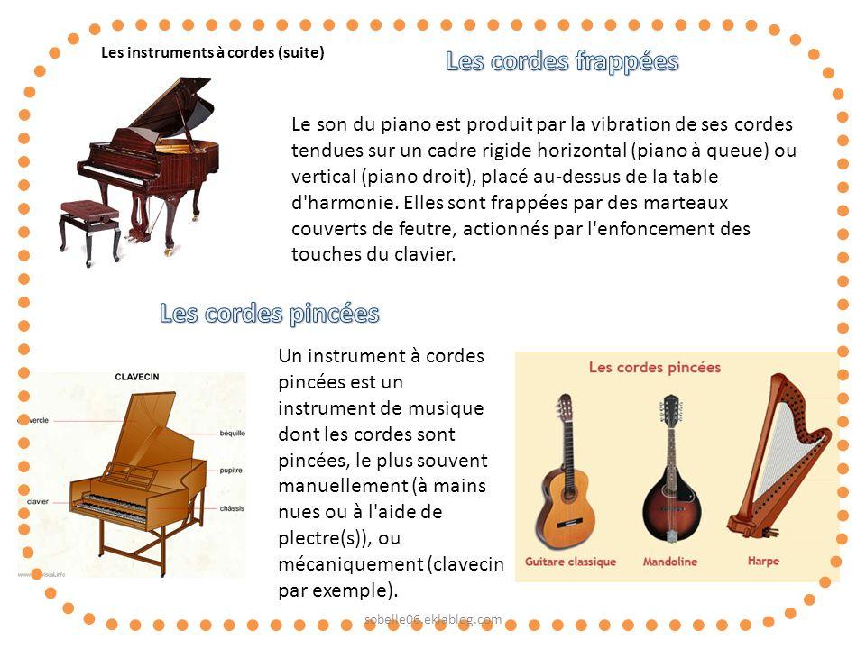 Les instruments à cordes (suite) Le son du piano est produit par la vibration de ses cordes tendues sur un cadre rigide horizontal (piano à queue) ou