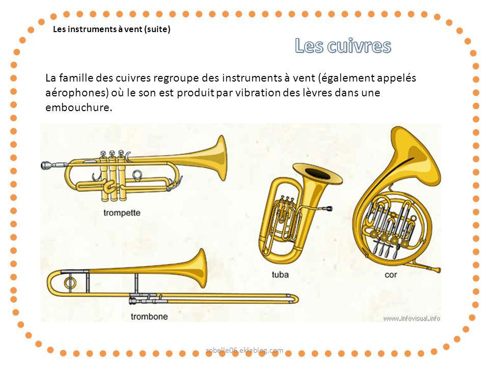 Les instruments à vent (suite) La famille des cuivres regroupe des instruments à vent (également appelés aérophones) où le son est produit par vibrati