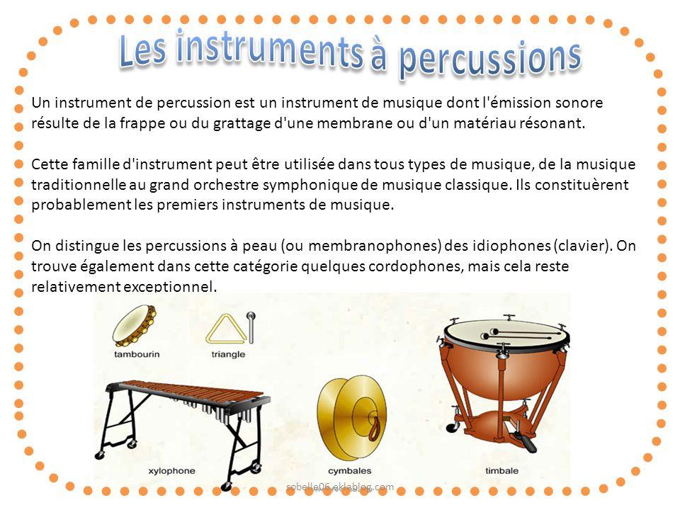 Un instrument de percussion est un instrument de musique dont l'émission sonore résulte de la frappe ou du grattage d'une membrane ou d'un matériau ré