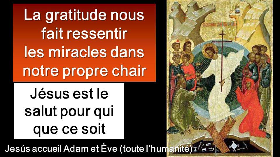 Jésus est le salut pour qui que ce soit La gratitude nous fait ressentir les miracles dans notre propre chair Jesús accueil Adam et Ève (toute lhumanité)