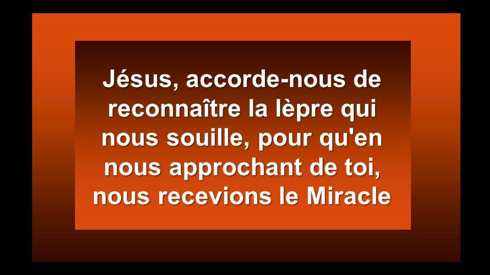 Jésus, accorde-nous de reconnaître la lèpre qui nous souille, pour qu en nous approchant de toi, nous recevions le Miracle