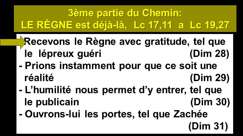 3ème partie du Chemin: LE RÈGNE est déjà-là, Lc 17,11 a Lc 19,27 - - Recevons le Règne avec gratitude, tel que le lépreux guéri (Dim 28) - Prions instamment pour que ce soit une réalité (Dim 29) - Lhumilité nous permet dy entrer, tel que le publicain (Dim 30) - Ouvrons-lui les portes, tel que Zachée (Dim 31)