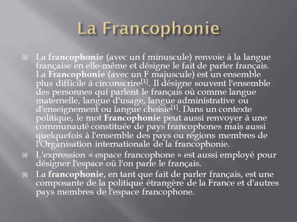 La francophonie (avec un f minuscule) renvoie à la langue française en elle-même et désigne le fait de parler français. La Francophonie (avec un F maj
