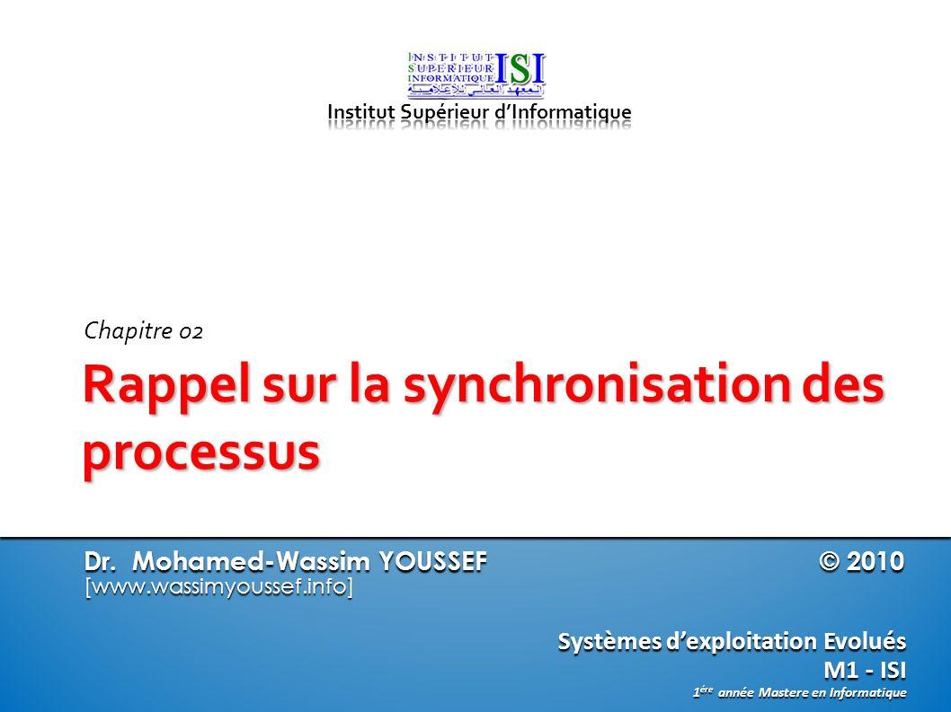 Dr. Mohamed-Wassim YOUSSEF © 2010 [www.wassimyoussef.info] Systèmes dexploitation Evolués M1 - ISI 1 ére année Mastere en Informatique Rappel sur la s