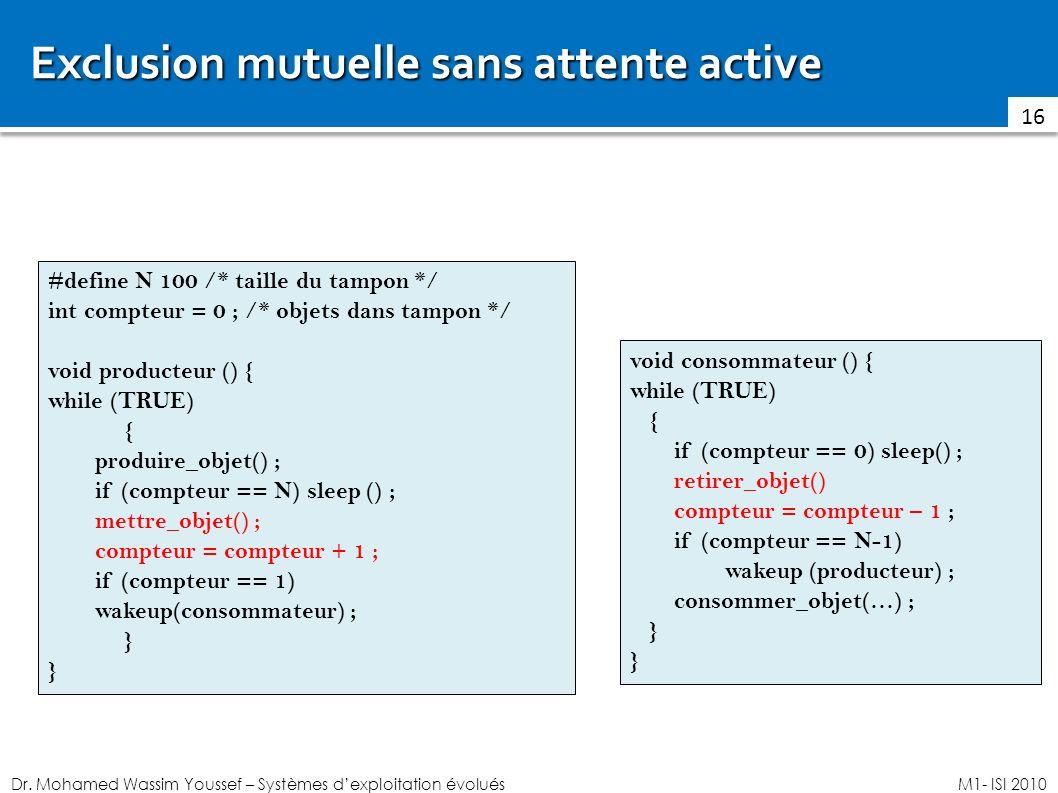 Dr. Mohamed Wassim Youssef – Systèmes dexploitation évoluésM1- ISI 2010 Exclusion mutuelle sans attente active 16 #define N 100 /* taille du tampon */