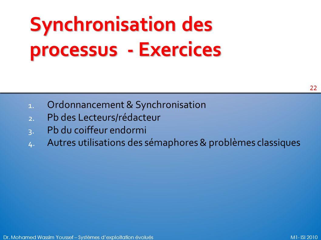 22 Dr. Mohamed Wassim Youssef – Systèmes dexploitation évoluésM1- ISI 2010 Synchronisation des processus - Exercices 1. Ordonnancement & Synchronisati