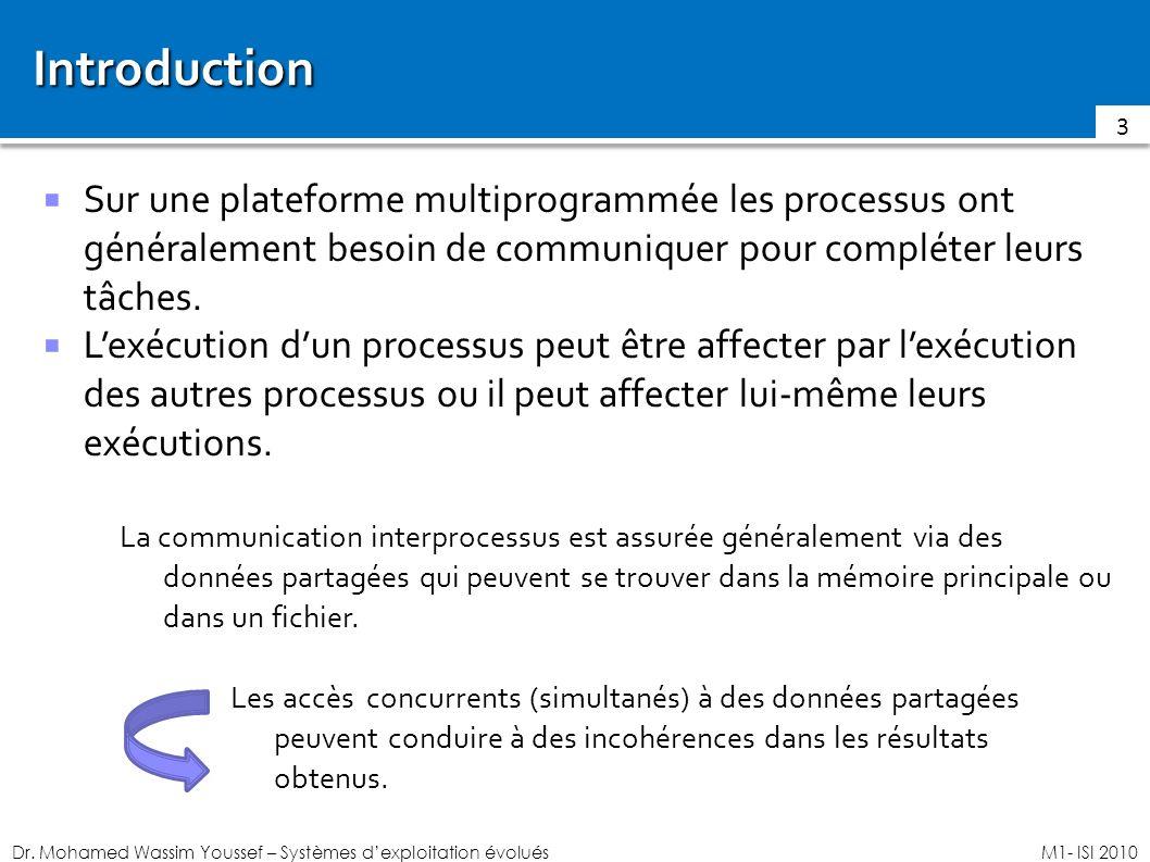 Dr. Mohamed Wassim Youssef – Systèmes dexploitation évoluésM1- ISI 2010 Introduction Sur une plateforme multiprogrammée les processus ont généralement