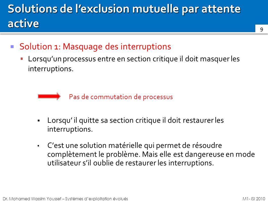 Dr. Mohamed Wassim Youssef – Systèmes dexploitation évoluésM1- ISI 2010 Solutions de lexclusion mutuelle par attente active Solution 1: Masquage des i