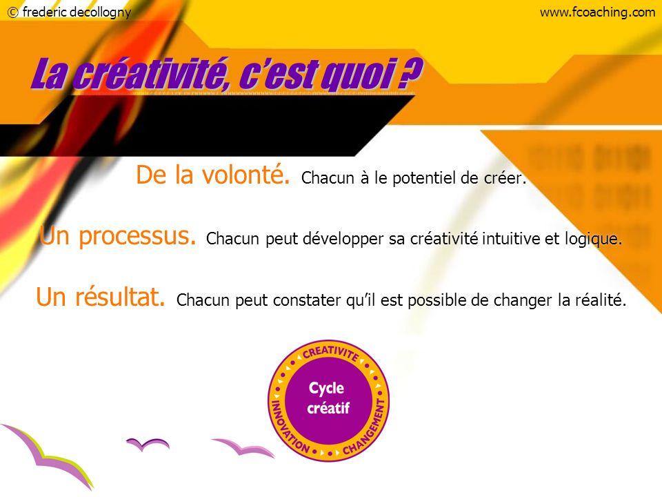 © frederic decollognywww.fcoaching.com La créativité, cest quoi ? De la volonté. Chacun à le potentiel de créer. Un processus. Chacun peut développer
