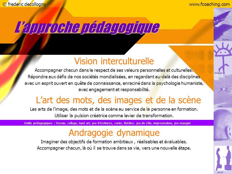 © frederic decollognywww.fcoaching.com Outils pédagogiques : Dessin, collage, land art, jeu décritures, conte, théâtre, jeu de rôle, improvisation, je
